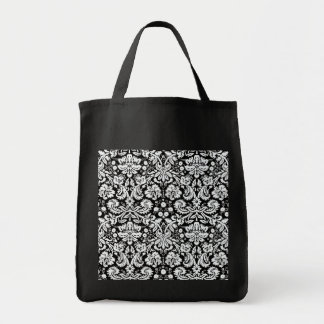 Chic Victorian Damask Grocery Tote Bag