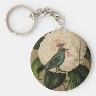 Chic Vintage Bird camellia french botanical art Key Ring