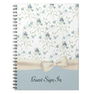 Chic Vintage Blue Bells Wedding Guest Notebook