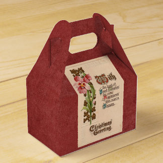 Chic Vintage Christmas Greeting On Antique Red Favour Box