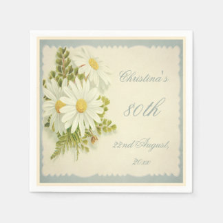 Chic Vintage Daisies 80th Birthday Serviettes Paper Napkin