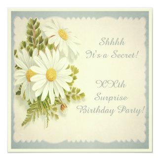 Chic Vintage Daisies Surprise Party 13 Cm X 13 Cm Square Invitation Card