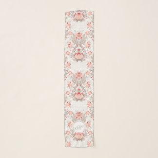 Chic Vintage Floral Damask Monogram Long Scarf