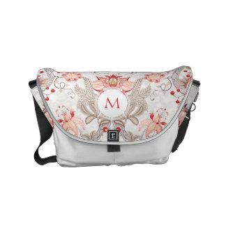 Chic Vintage Floral Damask Monogram Messenger Bag