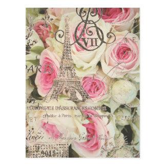 Chic Vintage Floral Paris Pink Rose Postcard