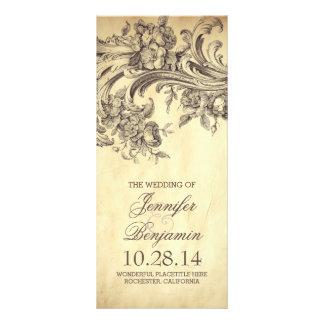 Chic vintage flourish wedding programs rack card template