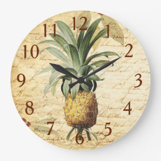 Chic Vintage French Calligraphy Pineapple Art Large Clock