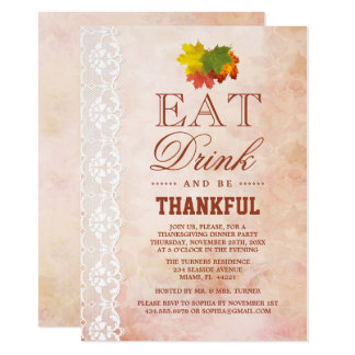 Chic Vintage Lace Fall Foliage Thanksgiving Invite