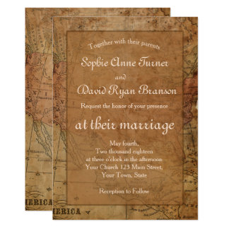 Chic Vintage Map Destination Wedding Invitation