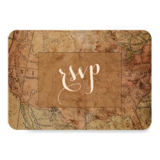 Chic Vintage Map Destination Wedding RSVP Card