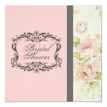 "Chic Vintage Pink Floral Bridal Shower Invitation 5.25"" Square Invitation Card"