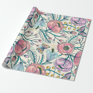 Chic Vintage Pink Rose Flower Wrapping Paper