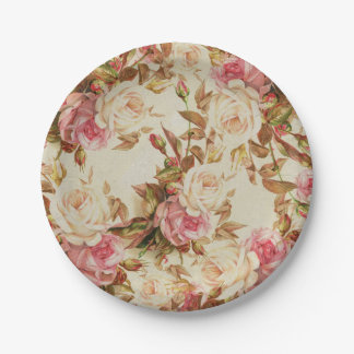 Chic vintage pink white brown roses floral pattern 7 inch paper plate
