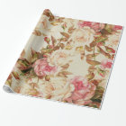 Chic vintage pink white brown roses floral pattern wrapping paper