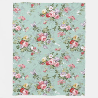 Chic vintage pretty pink red roses floral pattern fleece blanket