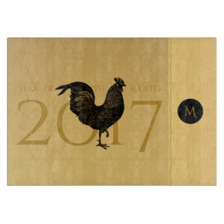 Chic Vintage Rooster Year 2017 Cutting Board 2