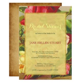 Chic vintage roses gold framed bridal shower card