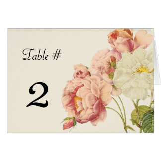 Chic Vintage Roses Wedding Table Number