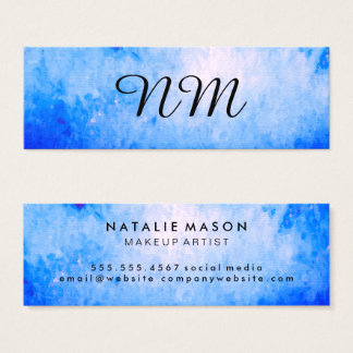 Chic Watercolor blue with Monogram Mini Business Card