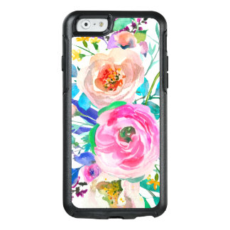 Chic Watercolor Colorful Flowers OtterBox iPhone 6/6s Case
