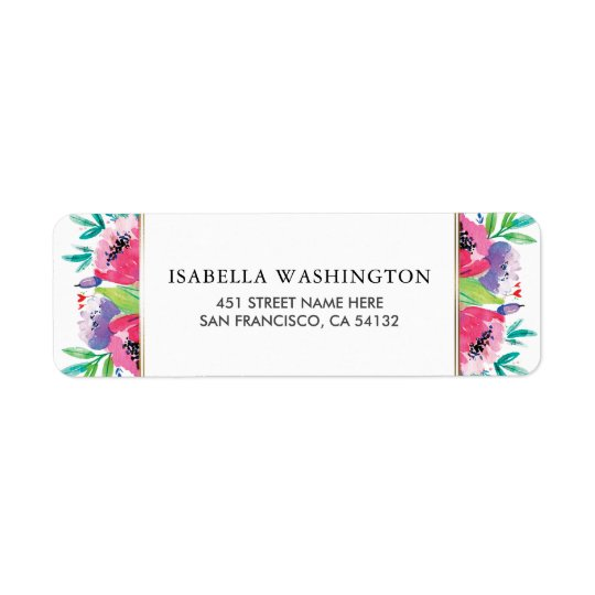 Chic Watercolor Floral Bouquet Wedding Return Address Label