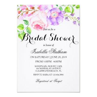 "Chic Watercolor Floral ""Bridal Shower"" 13 Cm X 18 Cm Invitation Card"