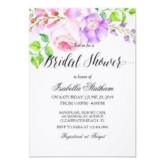 Chic Watercolor Floral Bridal Shower 2 13 Cm X 18 Cm Invitation Card