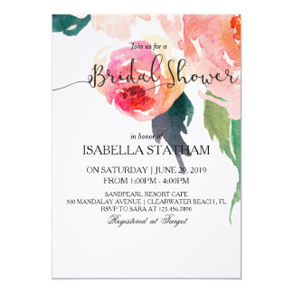 Chic Watercolor Floral Bridal Shower Card