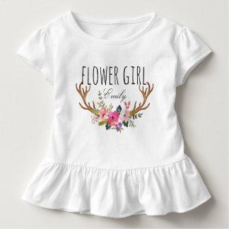Chic Watercolor Floral Deer Horn /Flower Girl-10 Toddler T-Shirt