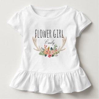 Chic Watercolor Floral Deer Horn /Flower Girl-11 Toddler T-Shirt