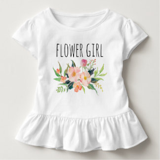 Chic Watercolor Floral/Flower Girl-7 Toddler T-Shirt
