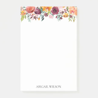 Chic Watercolor Floral Personalised Post-it Notes