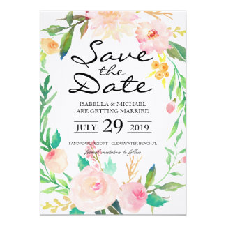 Chic Watercolor Floral | Save the Date 13 Cm X 18 Cm Invitation Card