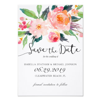 Chic Watercolor Floral Save the Date 13 Cm X 18 Cm Invitation Card
