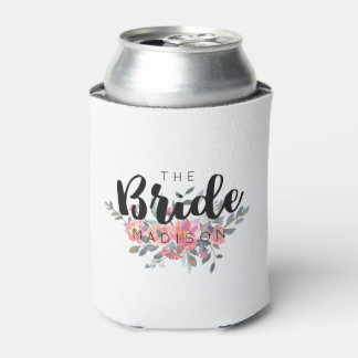 Chic Watercolor Floral Wedding Bride Can Cooler
