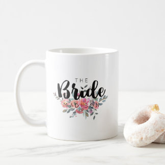 Chic Watercolor Floral Wedding Bride Coffee Mug
