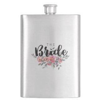 Chic Watercolor Floral Wedding Bride Flasks