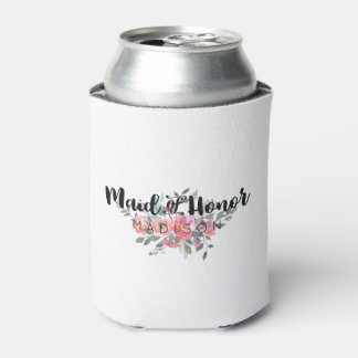 Chic Watercolor Floral Wedding Maid of Honor Can Cooler