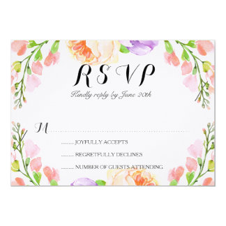 """Chic Watercolor Floral Wedding """"RSVP"""" Card"""