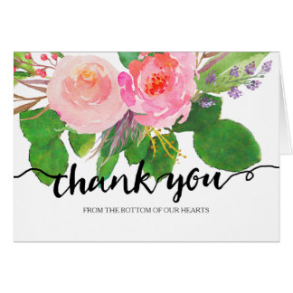 Chic Watercolor Floral | Wedding Thank You Greeting Card