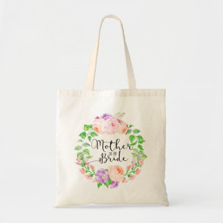 Chic Watercolor Floral Wreath Mother of the Bride Budget Tote Bag