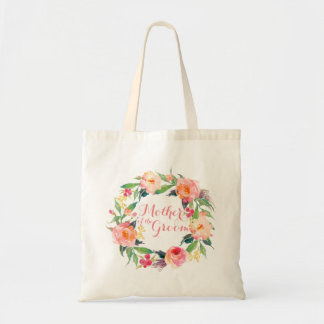 Chic Watercolor Floral Wreath Mother of the Groom Tote Bag