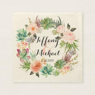 Chic Watercolor Floral Wreath Wedding-4 Disposable Serviettes