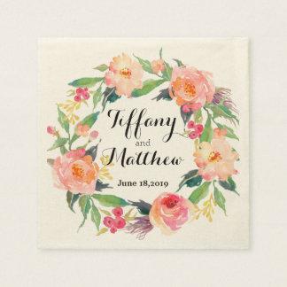 Chic Watercolor Floral Wreath Wedding Disposable Serviettes