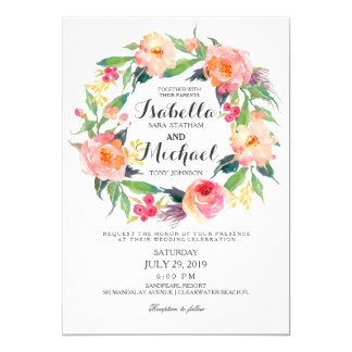 Chic Watercolor Floral Wreath Wedding Invitation