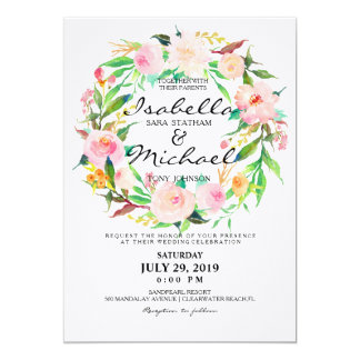 Chic Watercolor Floral Wreath Wedding Invitation5 Card