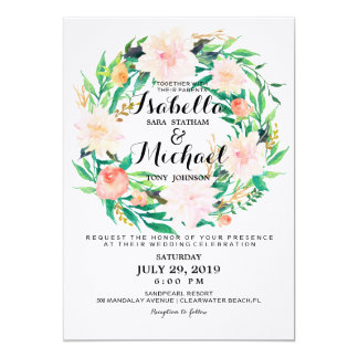 Chic Watercolor Floral Wreath Wedding Invitation6 Card
