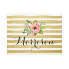 Chic Watercolor Flower with Gold White Stripes Doormat
