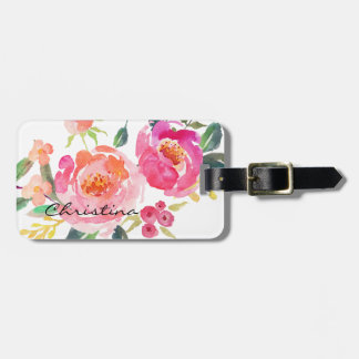 Chic Watercolor Flowers Personalized-2 Luggage Tag