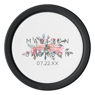 Chic Watercolor Peony Floral Wedding Favor Poker Chips